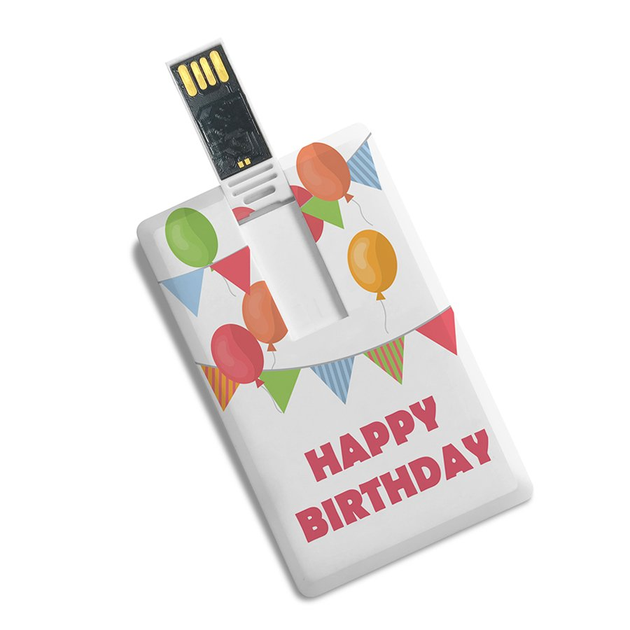 Credit Card Shape Designer Happy Birthday Printed Pendrive