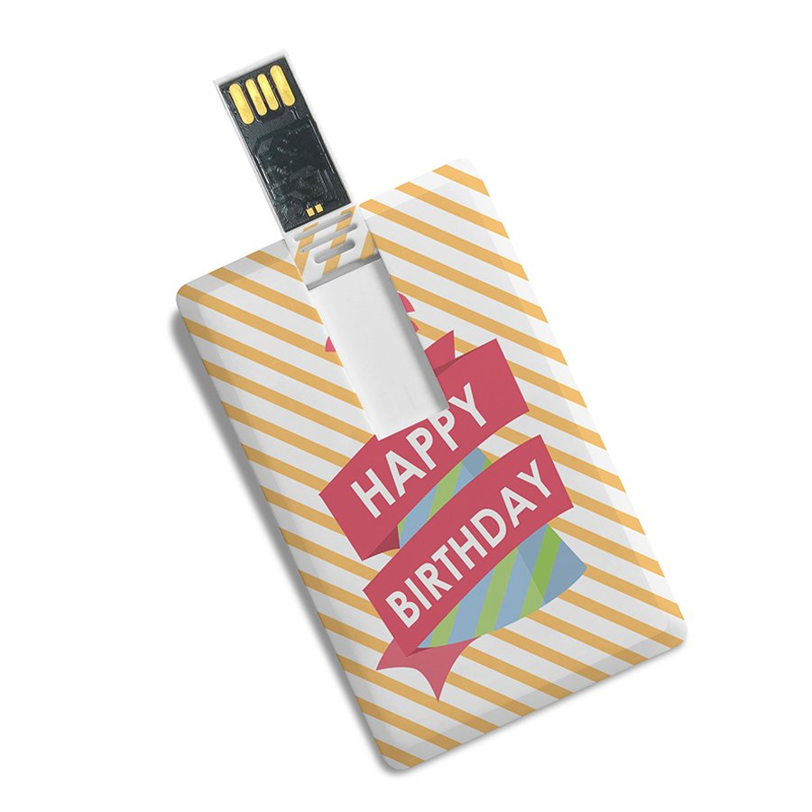 Happy Birthday Printed Credit Card Shape High Speed USB Pen Drive