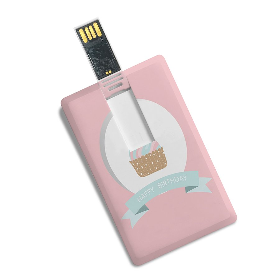 Happy Birthday Print Credit Card Shape High Speed Plastic Pendrive