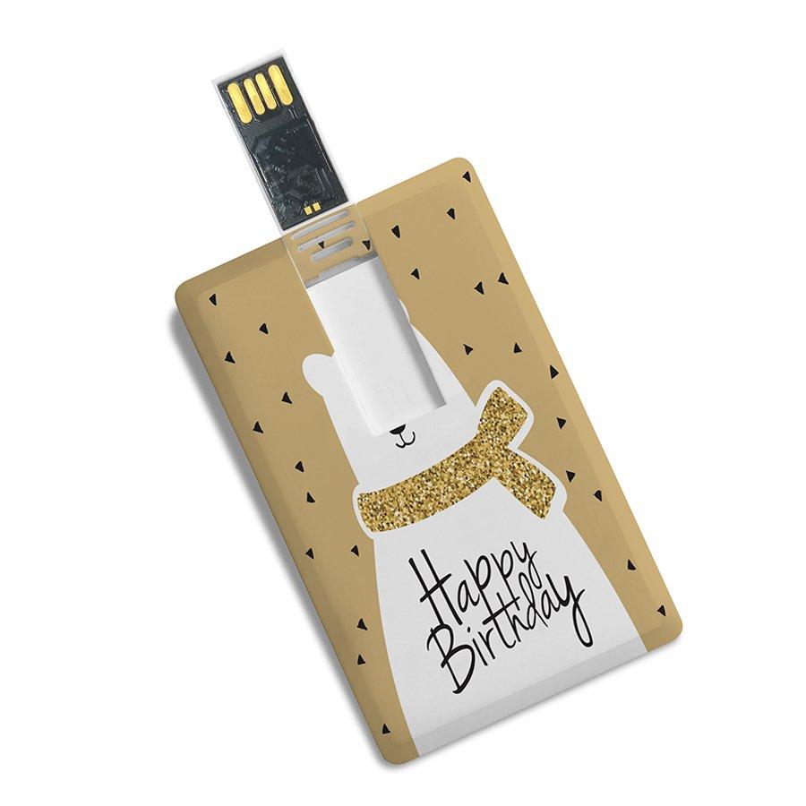 Credit Card Shape Fancy Pendrive Happy Birthday Printed