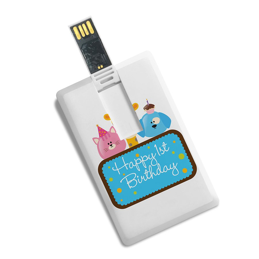 Credit Card Shape Happy 1st Birthday Printed High Speed Pen Drive