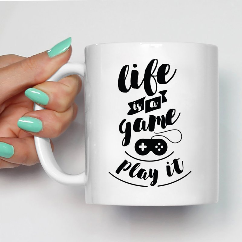 Motivational/Inspirational Quotes Life Is A Game Play It Printed Coffee Mugs -Glossy Finish